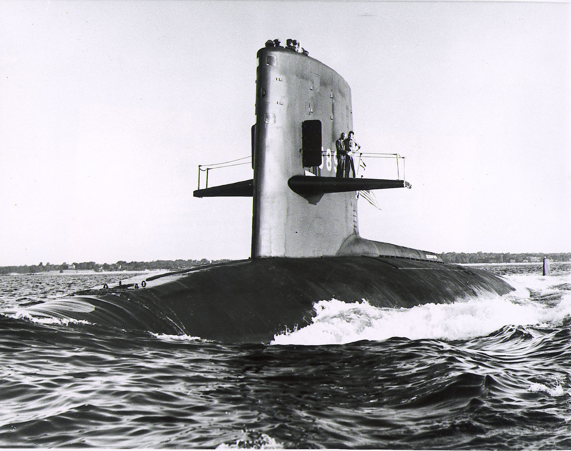 The nuclear submarine USS Scorpion is seen in the Atlantic Ocean in 1968 - The nuclear attak submarine Scorpion which was reported overdue at sea by the Pentagon May 27, 1968