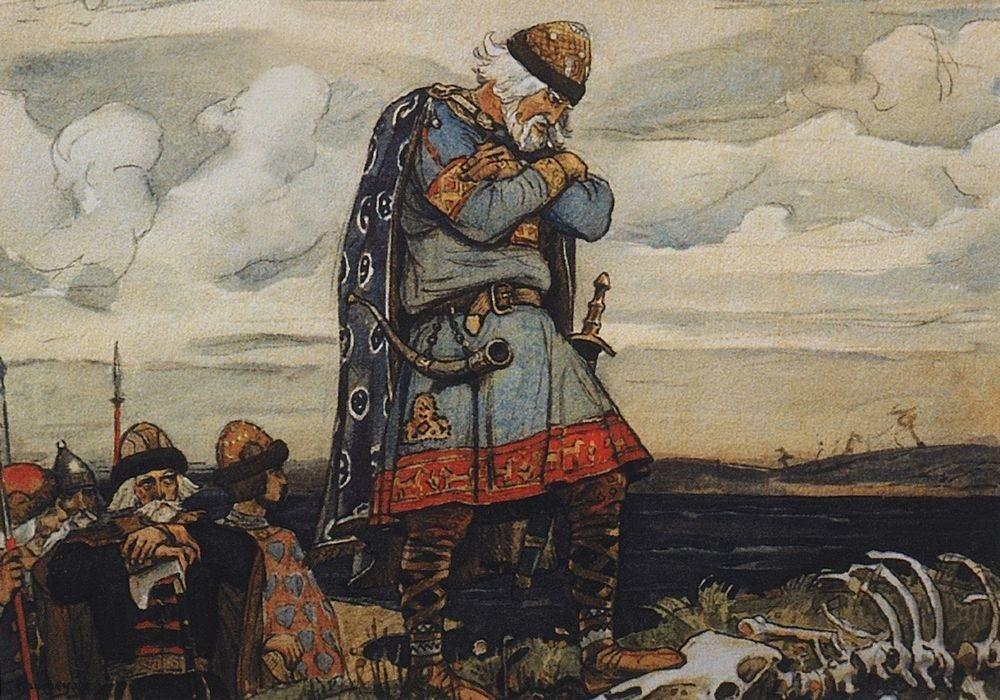 Le Prince Oleg le Sage, reproduction d'une aquarelle par Viktor Vasnetsov (1899)