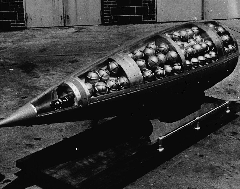 Une ogive de missile américain MGR-1 Honest John remplie de sous-munitions au sarin