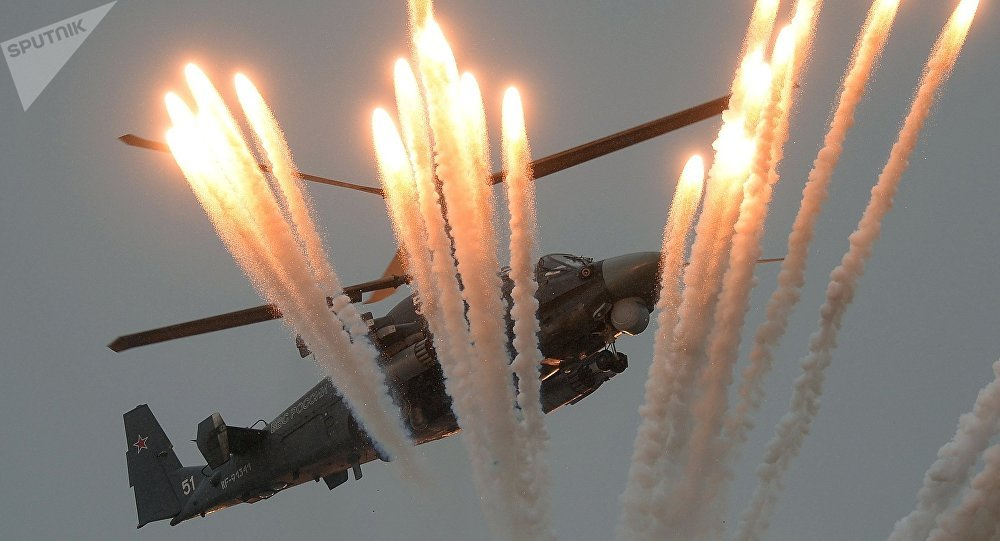 Un hélicoptère Ka-52 Alligator au tournoi Aviadarts 2016 en Crimée