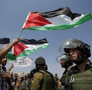 Des Palestiniens avec les drapeaux nationaux
