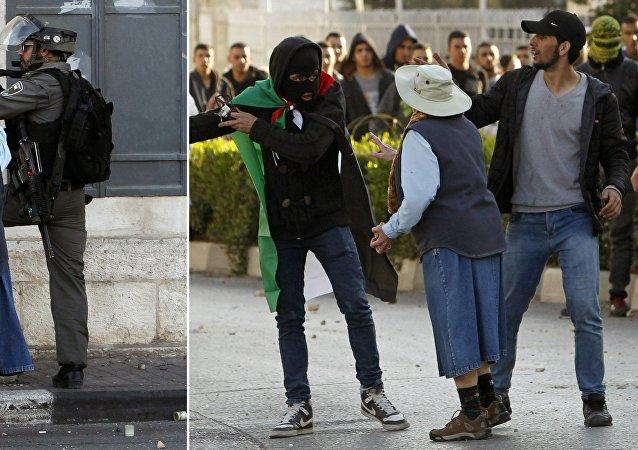 Bethléem, une femme âgée s'interpose entre manifestants palestiniens et soldats israéliens