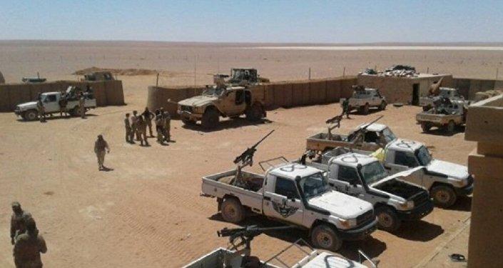 La base américaine d'al-Tanf au sud de la province de Homs près de la frontière jordanienne