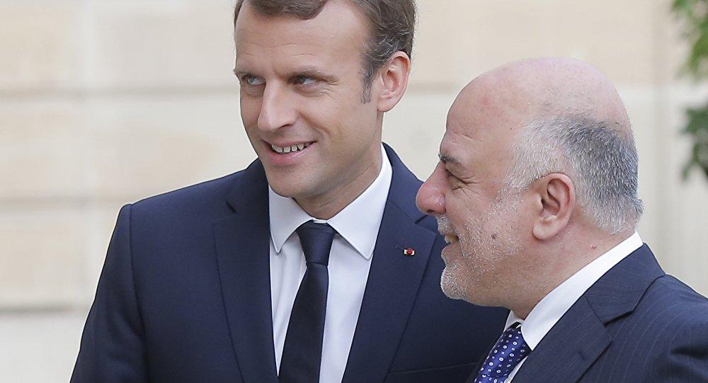 Le premier ministre irakien, Haidar al-Abadi, et Emmanuel Macron. Photo d'archive