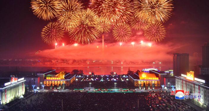 Feux d'artifice du Nouvel An en Corée du Nord