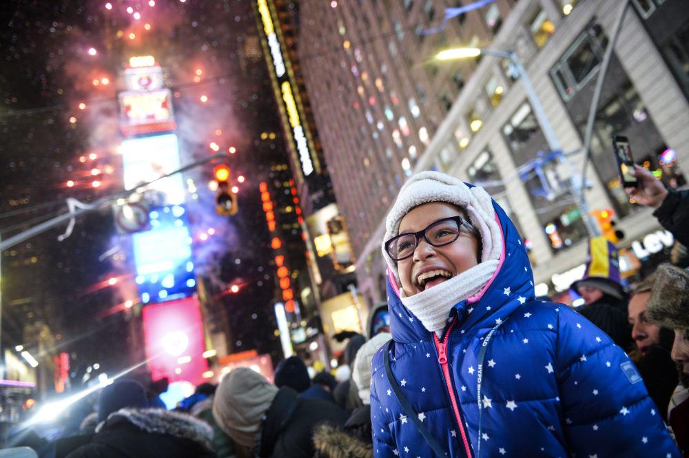 Feux d'artifice du Nouvel An à New York, aux États-Unis