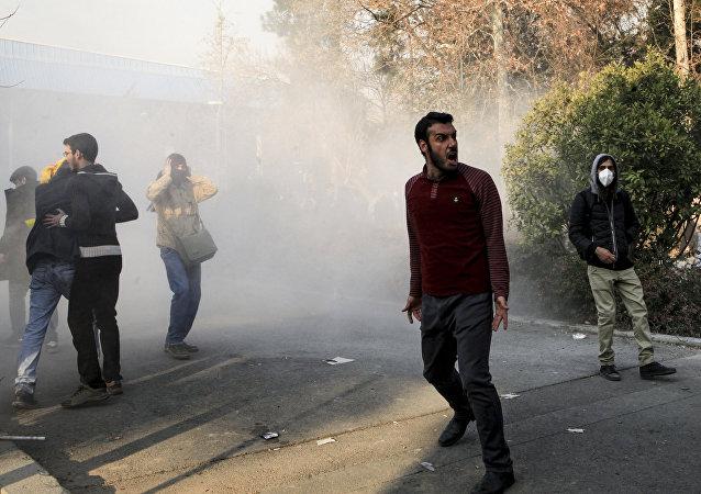 Protestations à Téhéran, le 30 décembre 2017