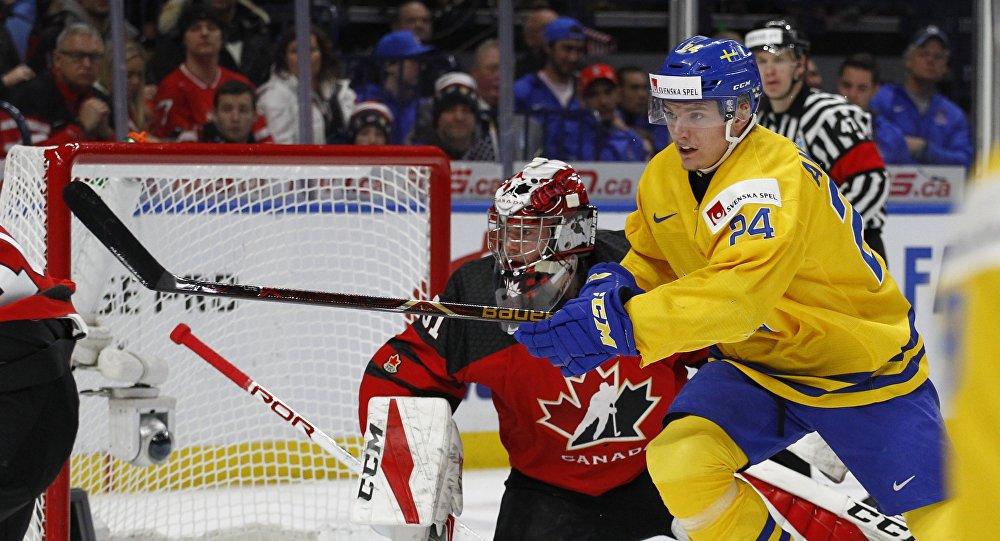 Match pour la médaille d'or des championnats du monde juniors de hockey, le vendredi 5 janvier 2018, à Buffalo, N.Y.
