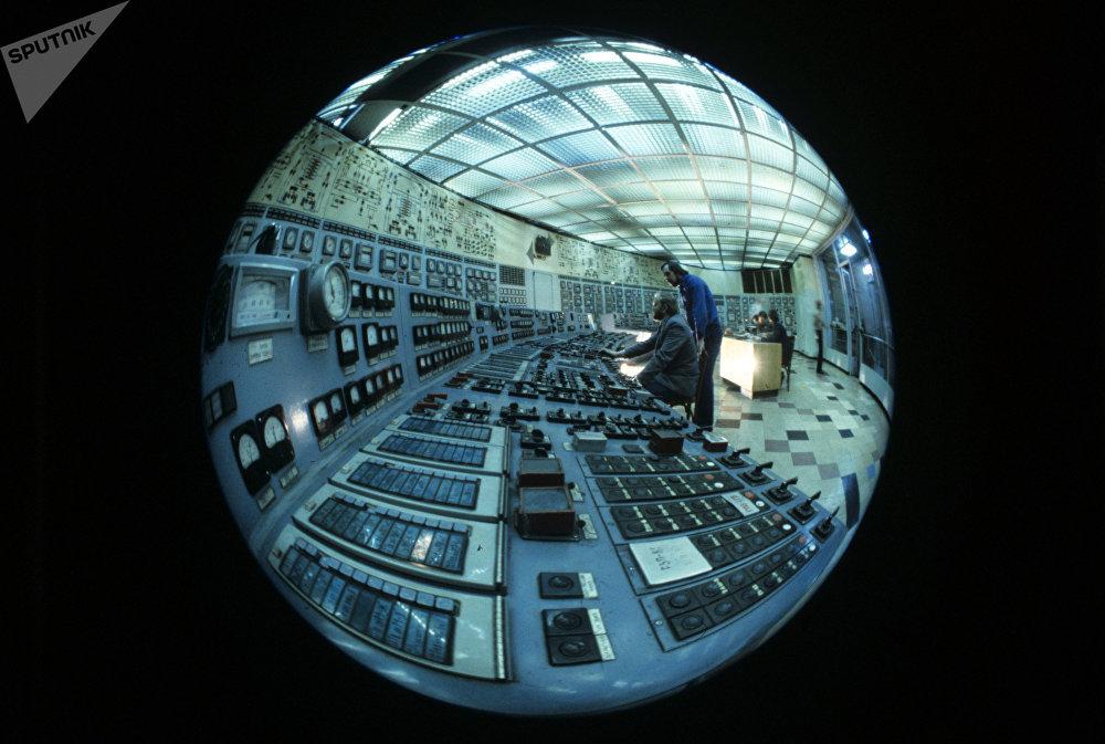 Panneau de contrôle de la centrale thermique de Reftinski, en Oural