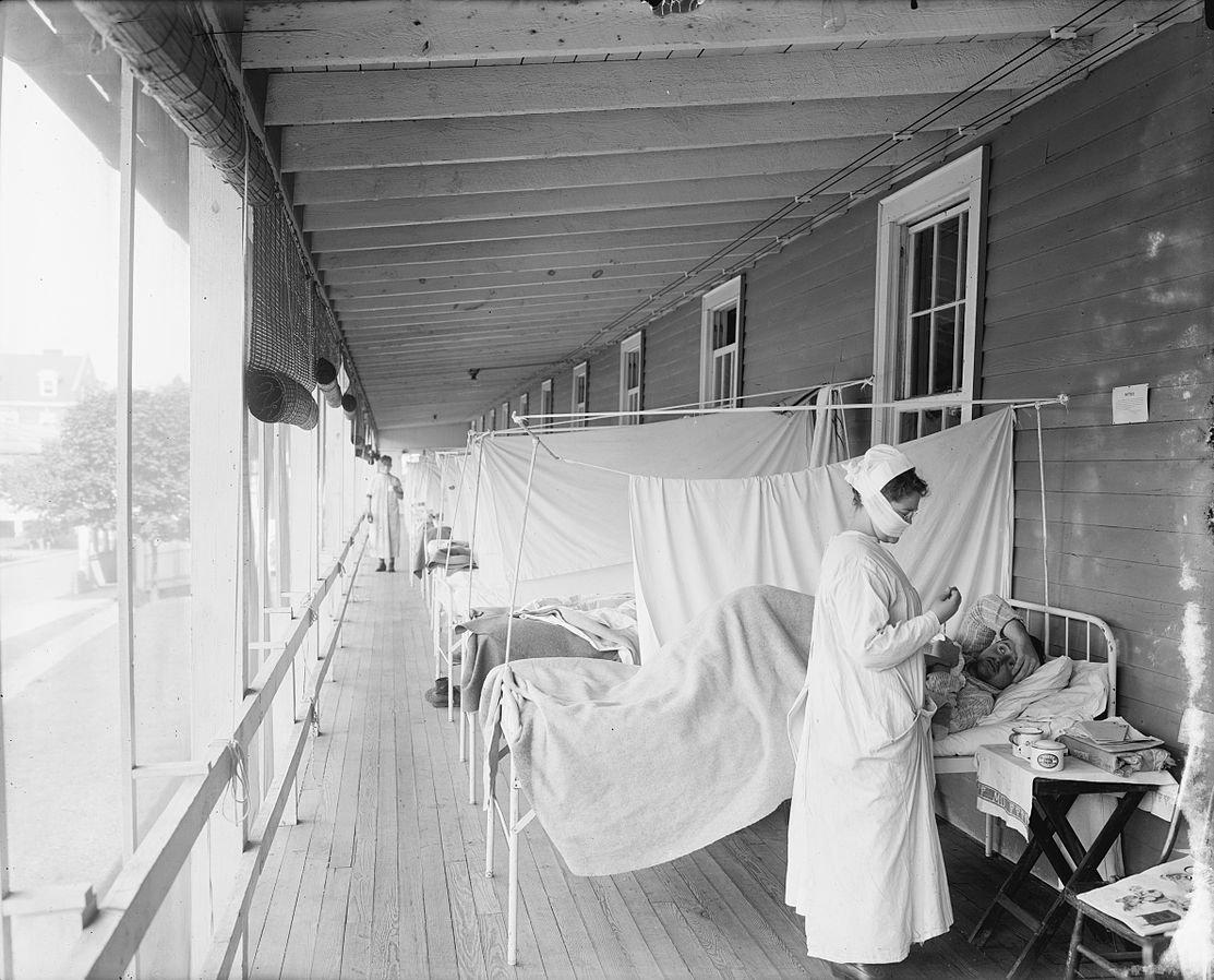 Photo de l'hôpital Walter Reed, Washington, D.C., lors de la grande pandémie de grippe de 1918-1919.