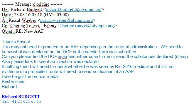le courrier envoyé par le docteur Richard Budgett, directeur médical et scientifique du CIO © Sputnik