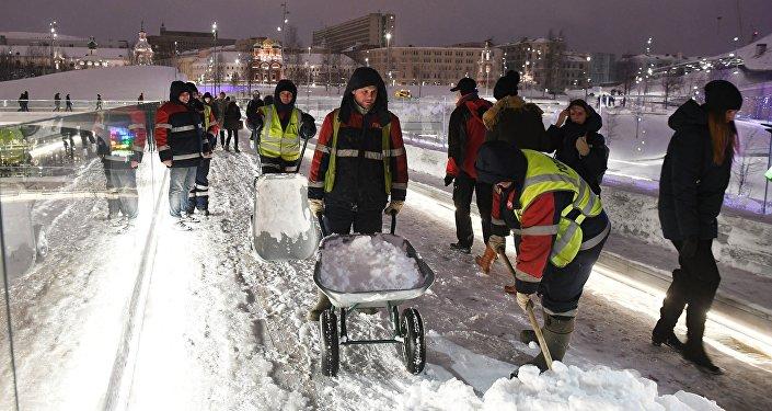 Les chutes de neiges record à Moscou