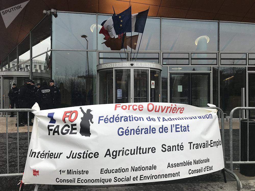 Manifestation devant la Direction de l'Administration pénitentiaire (DAP) à Paris, 5 février 2018