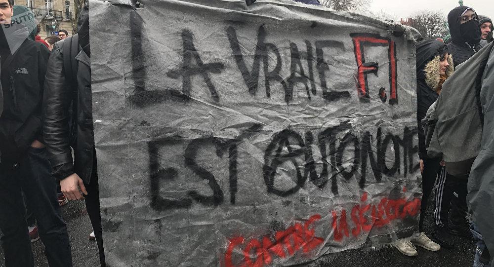 Troisième manifestation étudiante à Paris contre la sélection à l'université, 15 février 2018