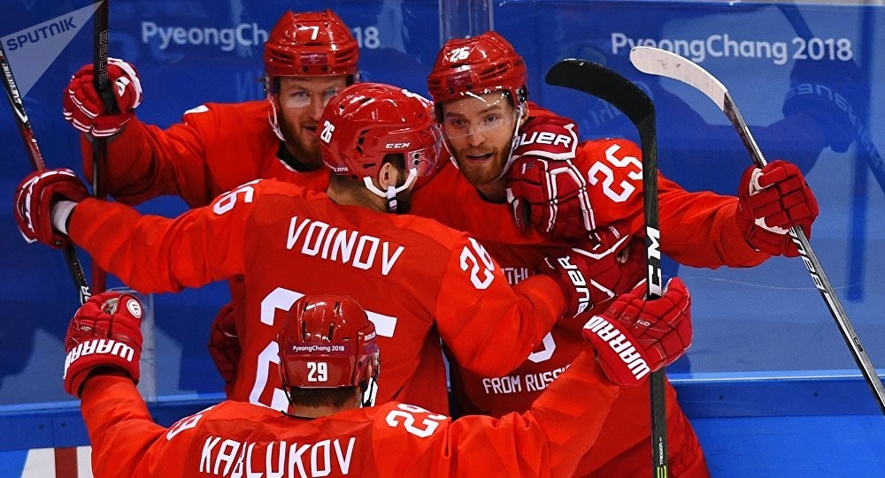 JO 2018. Hockey sur glace entre équipes masculines. Le match remporté par les Russes contre la Norvège