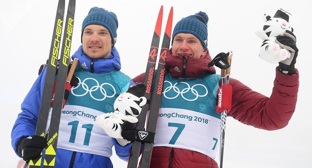 les fondeurs russes Andrey Larkov et Alexander Bolshunov