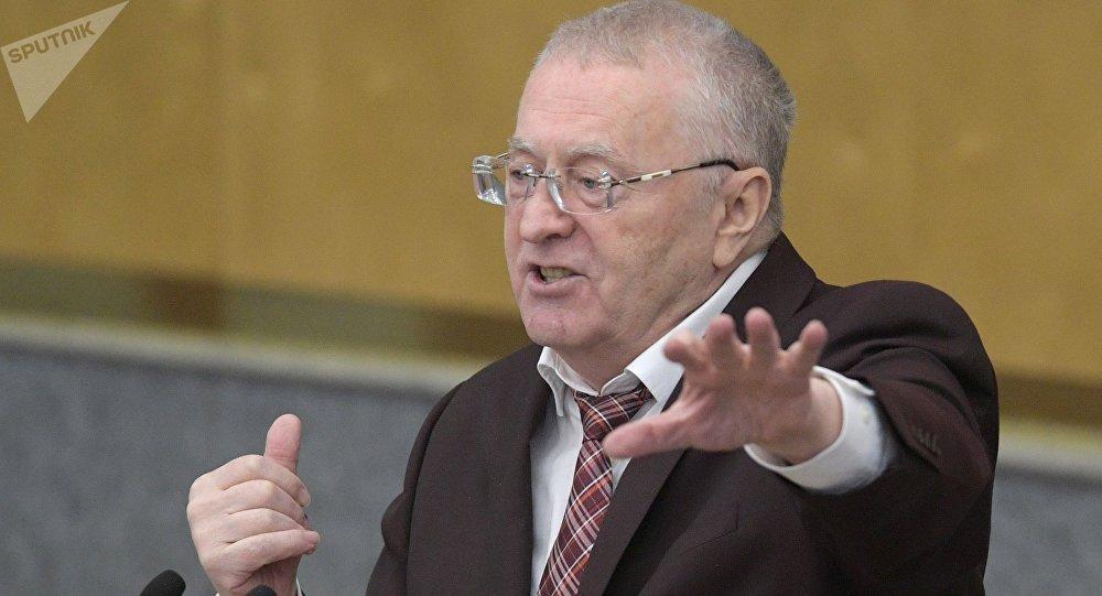 Лидер франции ЛДПР Владимир Жириновский на пленарном заседании Государственной Думы РФ.