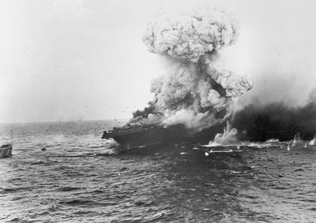 Explosion de l'USS Lexington