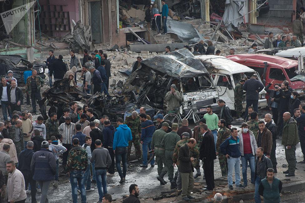 Février 2016. Sur les lieux d'un attentat à Homs