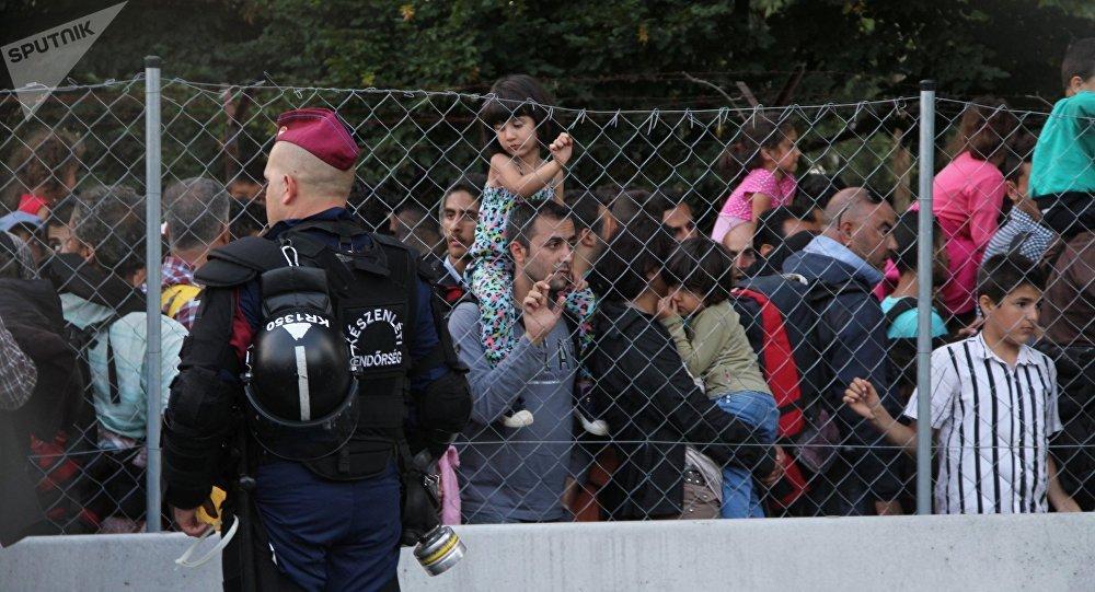 Migrants, Hongrie. Photo d'archive