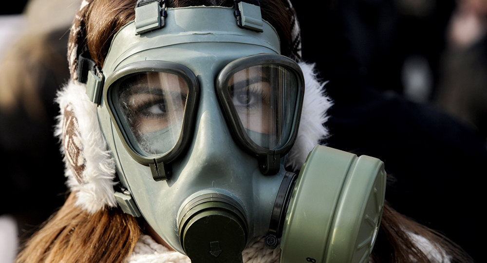 A woman wearing a gas mask participates in a protest against air pollution in Skopje, Macedonia, on Saturday, Dec. 21, 2013.