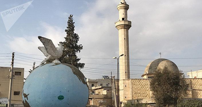 Le square central à Afrine, en Syrie