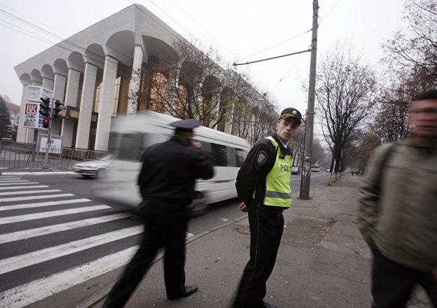 Police à Chisinau, Moldovie