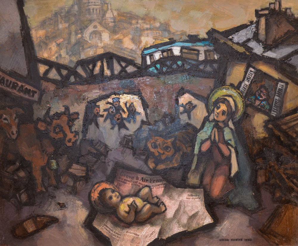 La Nativité à Barbès, 1986, huile sur toile, 100 x 81 cm