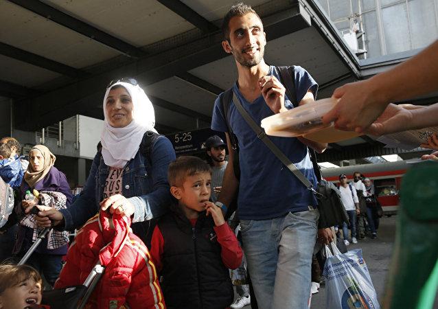 Des réfugiés syriens à la gare de Munich