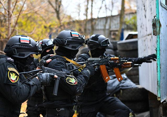 Exercices des membres des unités spéciales russes