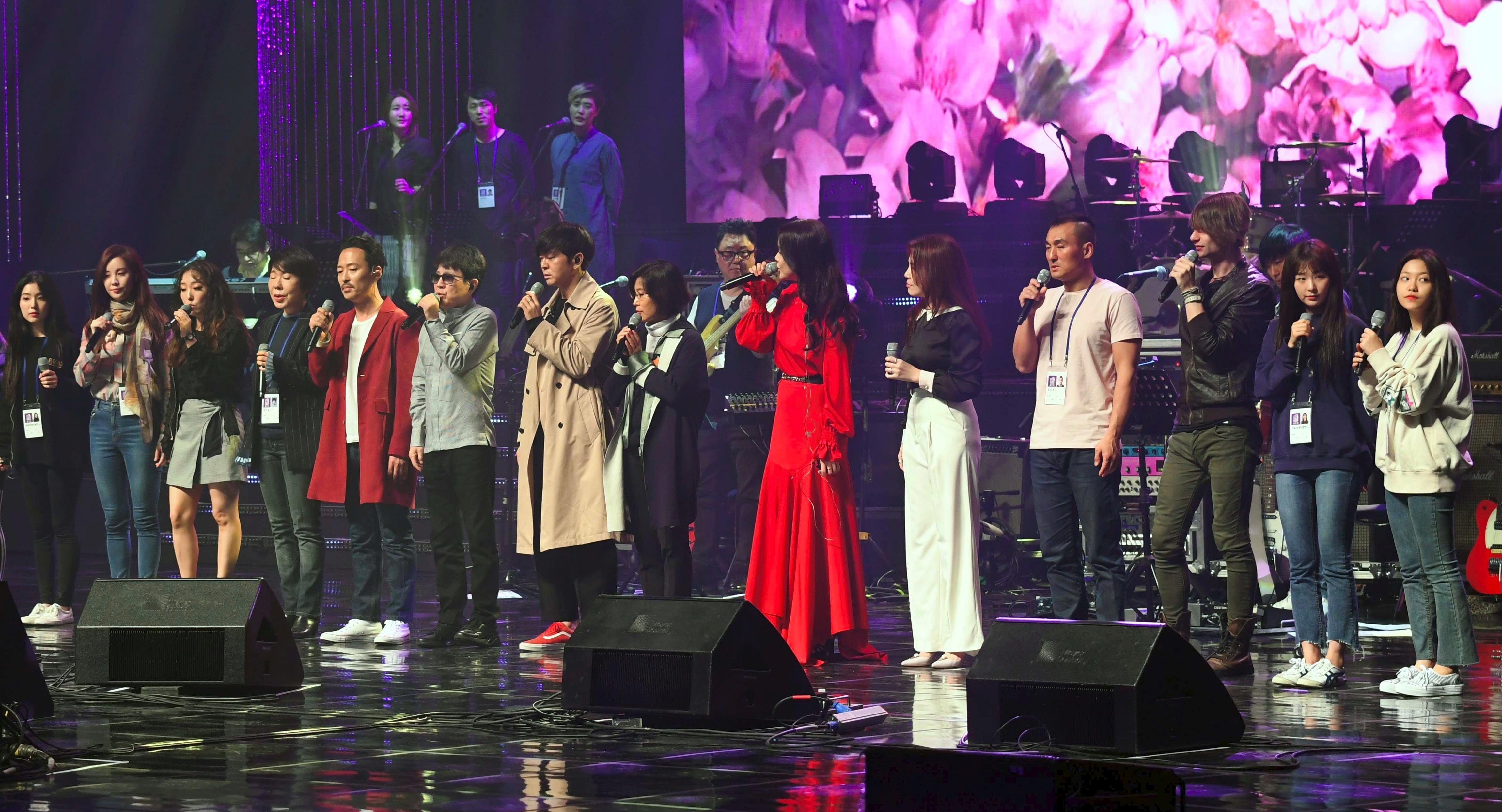 Une répétition du concert historique d'artistes sud-coréens à Pyongyang (1er avril 2018)