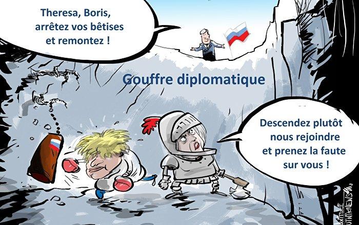 """Résultat de recherche d'images pour """"Affaire Skripal:caricatures cartoon de thérésa may et boris Johnson"""""""