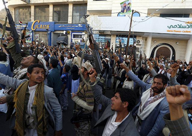 Une manifestation à Sanaa contre l'opération miltiaire de la coalition conduite par l'Arabie saoudite