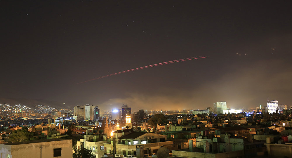 Damascus skies erupt with anti-aircraft fire as the U.S. launches an attack on Syria targeting different parts of the Syrian capital Damascus Syria early Saturday