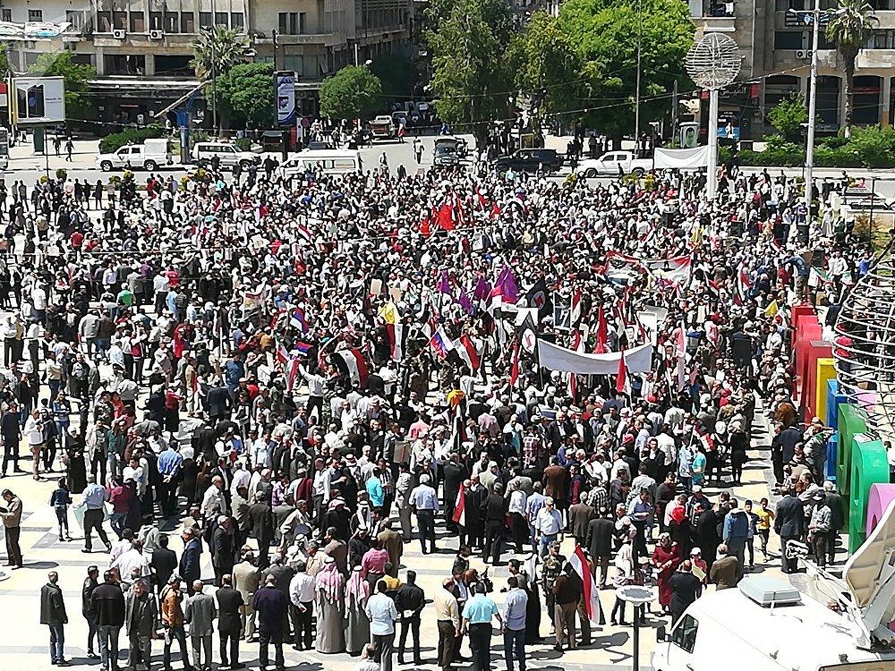 Protestation contre les frappes à Alep