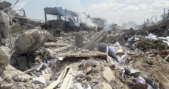 Les lieux de l'attaque aux missiles occidentales contre Damas (14 avril 2018)