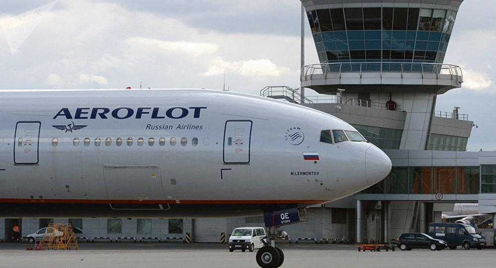 Un Boeing 777 d'Aeroflot à l'aéroport Cheremetievo de Moscou