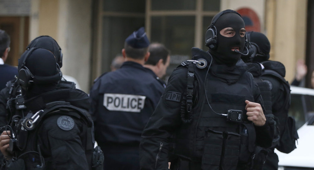 French RAID (Research, Assistance, Intervention, Deterrence) police gather near the site in Nice, south-eastern France, on April 27, 2015