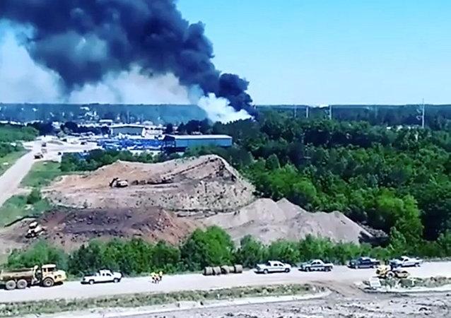 Le site du crash d'un avion militaire de transport US C-130
