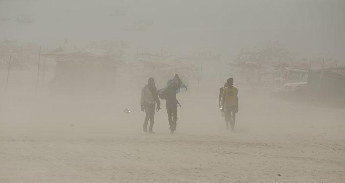 Tempête de sable en Inde (Image d'illustration)