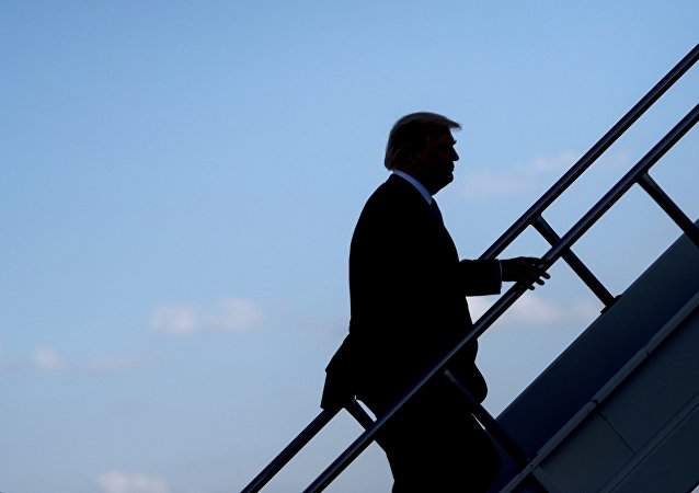 Donald Trump monte à bord d'un avion