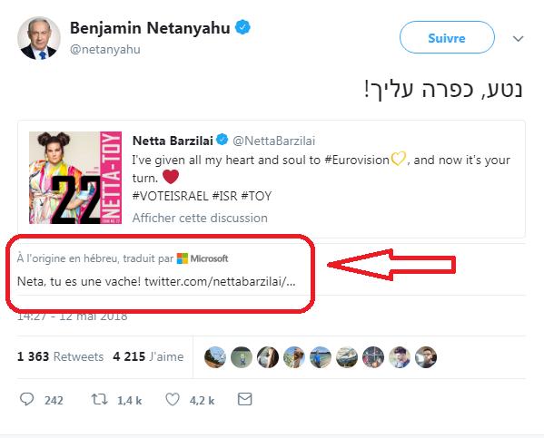 Benjamin Netanyahu félicite Netta Barzilaien en hébreu