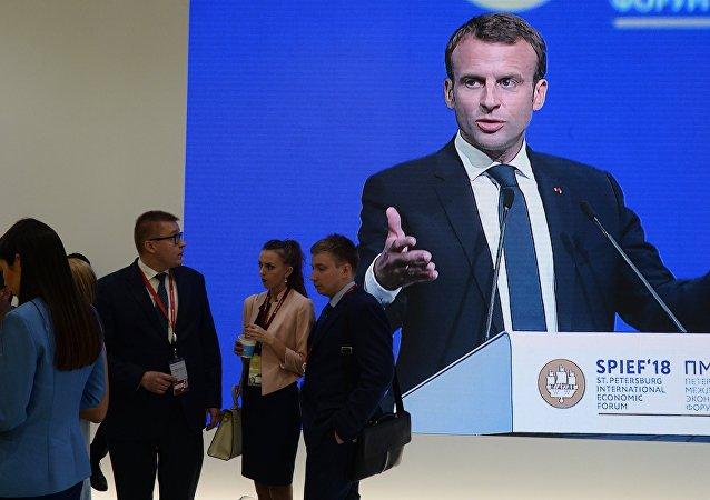 Le SPIEF: le discours du Président français Emmanuel Macron.
