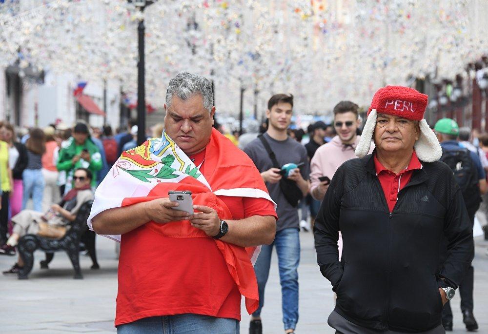 Des fans de foot au Mondial 2018 à Moscou