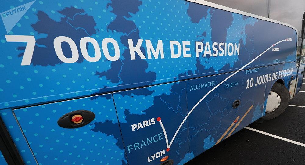 Le bus transportant l'équipe de France lors du Mondial 2018 en Russie