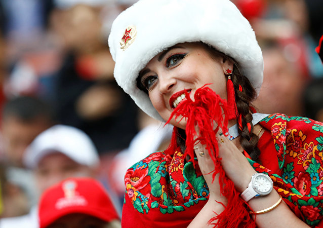 Soccer Football - World Cup - Group A - Russia vs Saudi Arabia - Luzhniki Stadium, Moscow, Russia - June 14, 2018 Russia fan before the match