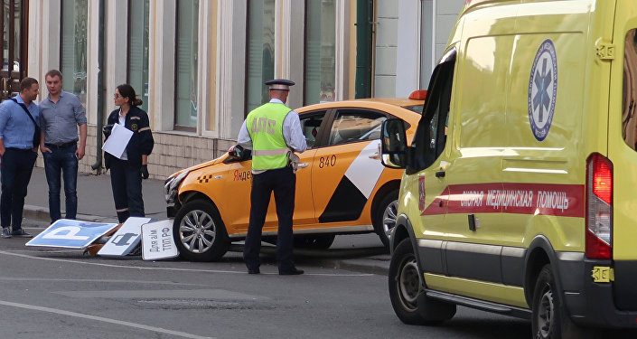un taxi dans le centre de Moscou