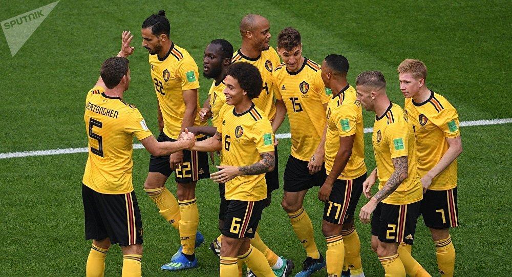 Les Belges après l'ouverture du score dans le match pour la 3e place contre l'Angleterre