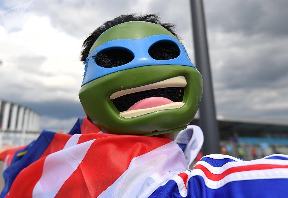 Un supporter français avant le quart de finale France-Uruguay au Mondial 2018