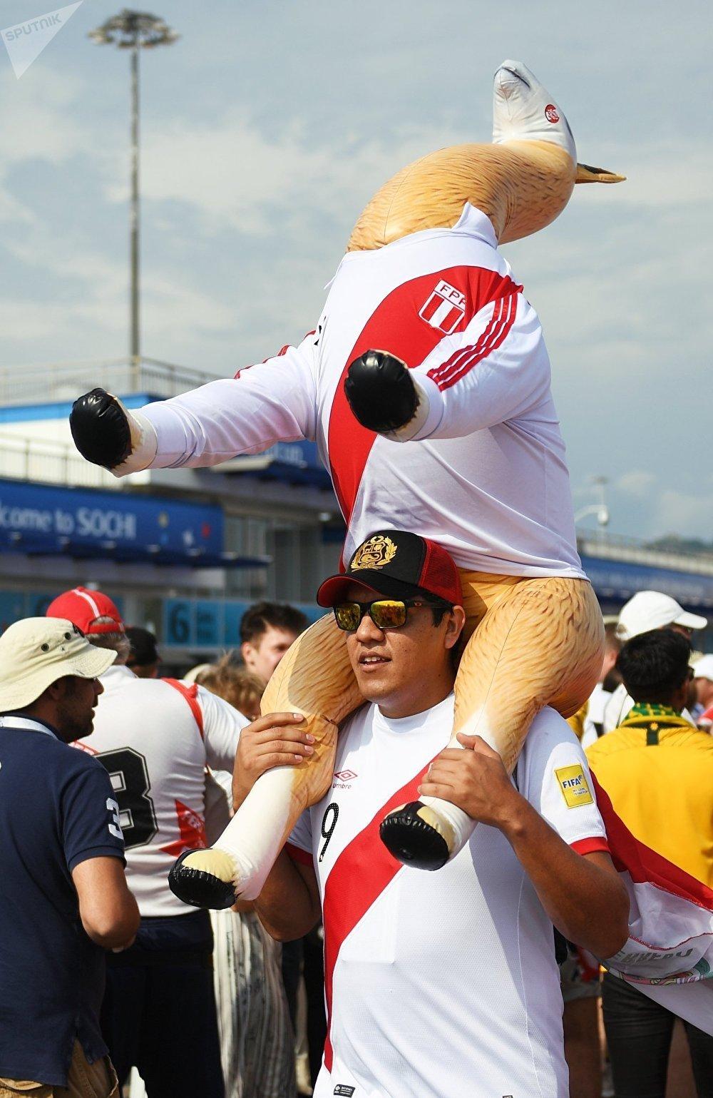 Un supporter péruvien avant le match Australie-Pérou au Mondial 2018